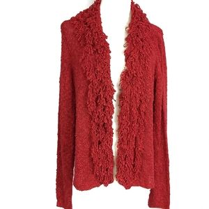 Cato Womens Red Fringed Cardigan Sz XL